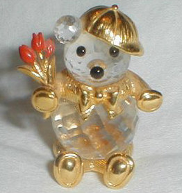 """Swarovski Bear with Tulips"