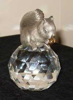 """Swarovski Trimlite Squirrel on Round Paperweight"""